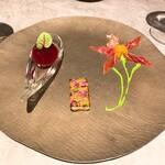 Sanmi - ③キールのスフィリケーション マコモダケと塩辛ソース 生ハムと菜の花クリーミーとメロンキャビア
