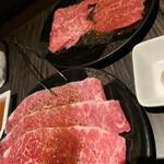 和牛焼肉 勢 - 一切れずつ食べたあとの写真です。
