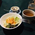 アンジェリー フレスカ - ランチセットのサラダとスープとデザート(始めにこれらが出された)