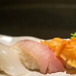 鮮魚・お食事処 山正 - 2020.3 寿司(ヤリイカ、ノドグロ、赤貝)