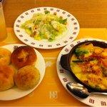 バケット - ベーコンと野菜のグラタン、サラダ・ドリンクバーセット