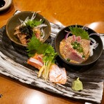 yakitorirobatayakigenki - お刺身  胡麻カンパチ 胡麻さばの盛り合わせ