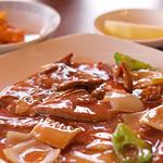 中国料理 甜甜酒楼 - 豚レバ炒め&ザーサイ&りんご