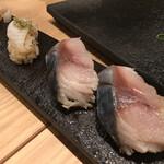 鮨・酒・肴 杉玉  - えんがわの昆布〆炙り¥329 とろ〆さば¥329/3貫