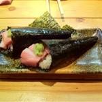 魚河岸料理 うおぎん - 大トロの手巻き