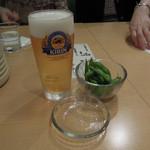 宇都宮餃子さつき  - ちょっと1杯セットのビールと枝豆