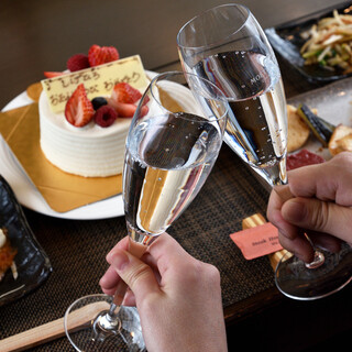 記念日や誕生日に素敵なひとときを♪ホールケーキ&シャンパン付