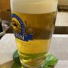 カリビアン - ドリンク写真:生ビール。お通しはゴボウサラダ。