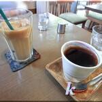 cafeつむぎ - アイスカフェオレ&マンデリン