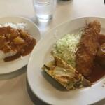 キャッスル食堂 - 盛り合わせのカレーかけ600円(2020.1.28)