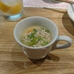 すこぶる名古屋 - お通し  鶏そぼろの茶碗蒸し