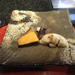 ステーキ円山 - 野菜焼き上がり 安納芋、椎茸、玉ねぎ