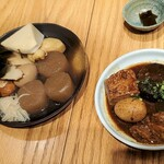福島屋 - おでん盛り+大根+もち巾着追加+味噌おでん盛り