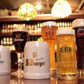 ドイツ樽生ビールが常時6種類!