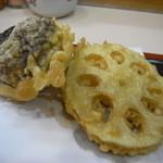 天ぷら天兵 - 野菜天ぷら(椎茸と蓮根)