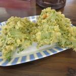 127964037 - 「わさび菜の天ぷら」(¥90)