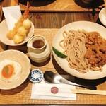 Kyoutoshijoukuwon - かしわキーマうどんと丹波コシヒカリ麦ご飯+西京漬け卵黄とのせもの