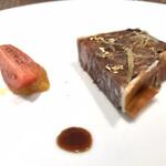 Reglisse - 鹿のパテ・アンクルート 生姜のコンフィ 金柑のマーマレードとフルーツトマト。