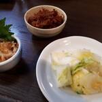 牛タン焼専門店 司 - 梅水晶+元祖タン辛み+お通し