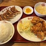 大阪王将 - とりの唐揚げ定食餃子付きのご飯大盛り