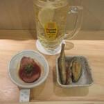 三漁洞 - ハイボール 600円(税別)、お通し 700円(税別)