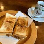 たかしまコーヒー店 - ハンバーガー玉子チーズカレー入り、レギュラーコーヒー
