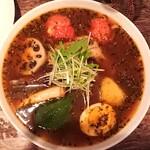 SoupCurry ATMAN - チキンと4野菜 ¥1250 *スワディスターナスープ ¥100 *ライス100g *辛さ39(無料の最上)