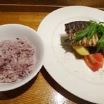ぽわぶる - 佐島サバのグリル+玄米ご飯