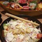 Hokkaidouhadekkaidouohotsukunomegumiabashirishi - サラダとお刺身♪