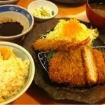 12817663 - ロースカツ定食120g 海老フライ30円                       …ご飯はタケノコの炊き込み