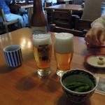 うどん本丸 - モルツ大瓶590円