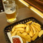 そじ坊 - 生ビール&ポテトフライ