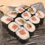 魚や一丁 - 鉄火とネギトロ巻き680円