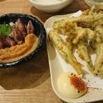 Ebizu - アスパラ磯辺揚げ&ホタルイカ酢味噌和え