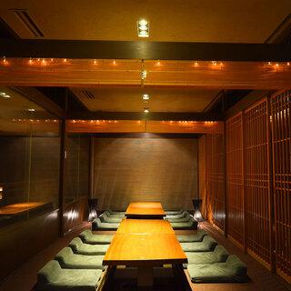 和モダンな空間は、落ち着いた大人の雰囲気。完全個室完備!