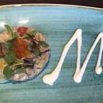 KANAME - スペシャルランチコース3900円。新鮮魚介のタルタル 山葵マヨネーズソース。特筆すべき点はありませんが、とても美味しいタルタルです(╹◡╹)