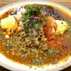 spice&cafe SidMid - 料理写真:チーズインオムキーマ&スルメイカの黒マサラの2種がけ