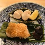 旬采遊膳 あつみ - 甘鯛鱗焼きとふぐの白子焼き