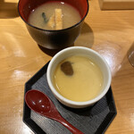 天丼専門 銀座いつき - 茶碗蒸しとみそ汁