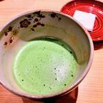 銀座 すが家 - ドリンク写真:最後にお抹茶とお菓子(落雁)