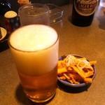 支那そば めでた屋 - ビールとサービスのメンマ