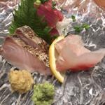 えんやどっと丸 - 「地魚お造り三種盛合せ」(鰆、鯛、鰹)