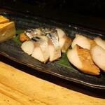 囲炉裏料理と日本酒スローフード 方舟 - 燻製三種盛り