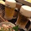 村崎焼鳥研究所 - ドリンク写真:酢モツと生ビール