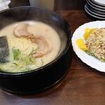 博多ラーメン 幸一 - ランチサービス ラーメン+焼飯 800円