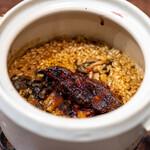 ビストロ レコルト - 2020.3 土鍋炊き込みご飯 フォアグラと江戸前穴子の白焼き(2,400円)