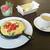 Cafe福 - モーニング・Dセット(スパニッシュオムレツ、サラダ、パン、ドリンク付き)(780円)
