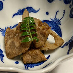 すき亭 - 松コース(すき焼き)@11,500円の一品(牛肉とレンコンのしぐれ煮)