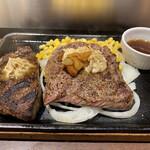 いきなりステーキ - 料理写真:トップリブステーキ&ビーフハンバーグコンボ!1,595円