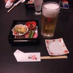 うまか粋亭 - 料理写真:生ビールと御通し。